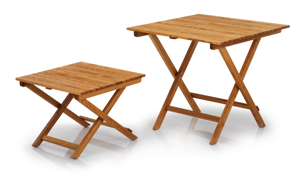 Aluminum and wooden tables
